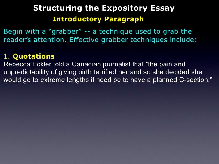 expository essay attention grabber