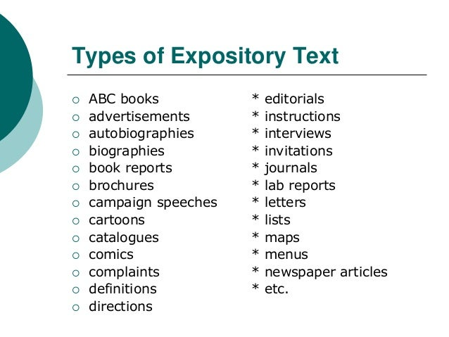 different types of expository writing