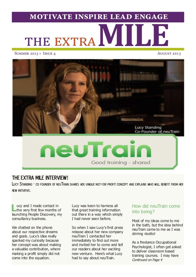 THE EXTRA MILE INTERVIEW! Lucy Standing - co founder of neuTrain shares her unique not for profit concept and explains who...