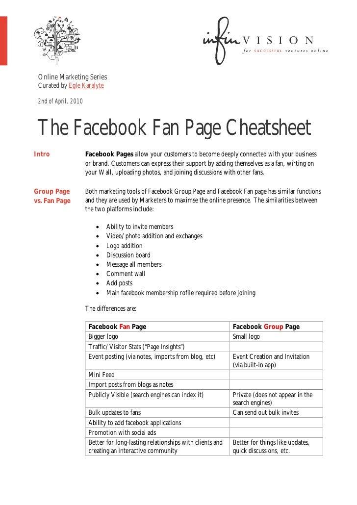 The facebook fan page cheatsheet