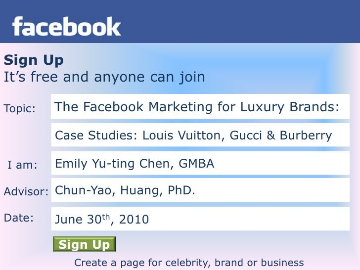 Sign Up<br />It's free and anyone can join<br />Topic:<br /> I am:<br />Advisor:<br />Date:<br />The Facebook Marketing fo...
