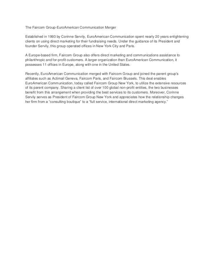 The faircom group euro american communication merger