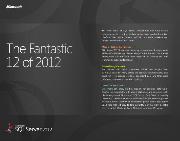 The fantastic 12 of sql server 2012