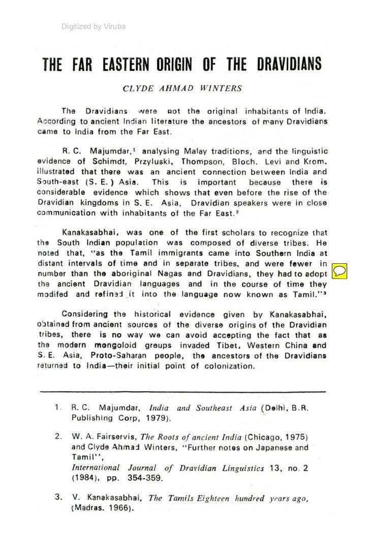 The far eastern origin of the dravidians