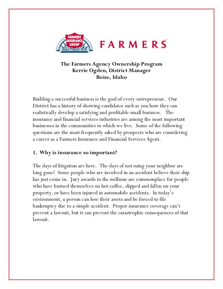 The Farmers Agency Ownership Program                 Kerrie Ogden, District Manager                          Boise, IdahoB...