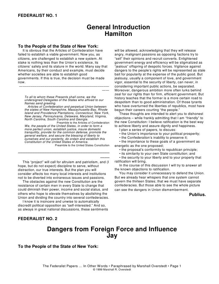 The federalist no 51 analysis essay
