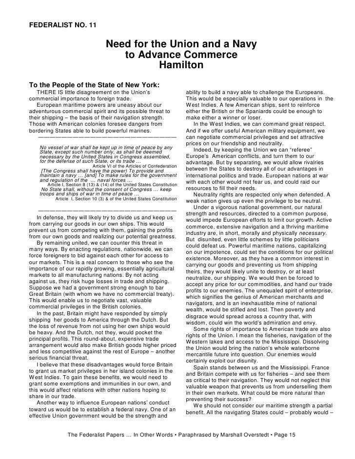 Is there any sites that have the Federalist papers in simple terms?