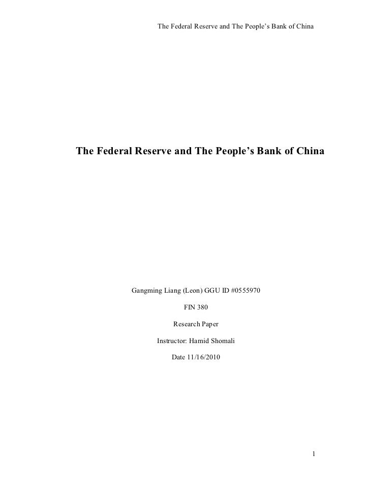 The federal reserve and the people's bank of china