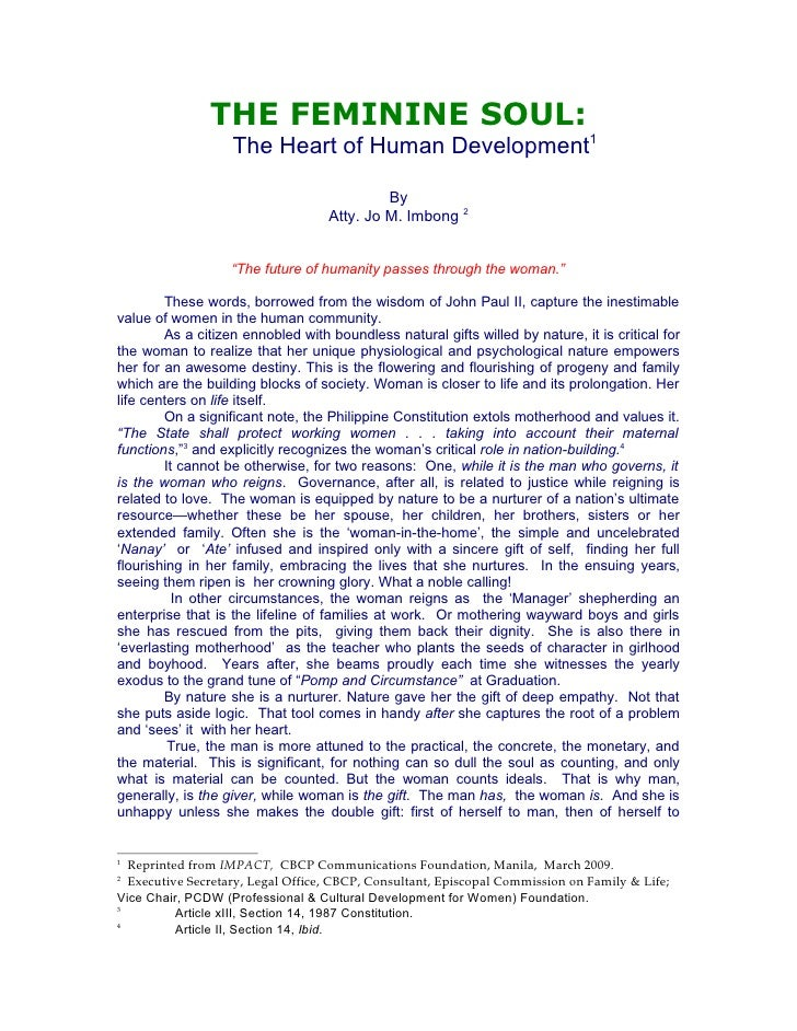 THE FEMININE SOUL:                    The Heart of Human Development1                                              By     ...