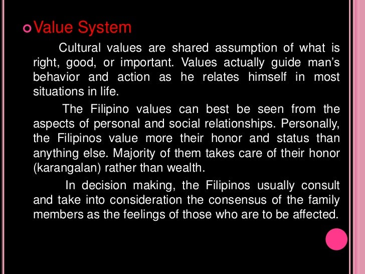 Filipino Values System Value System Cultural