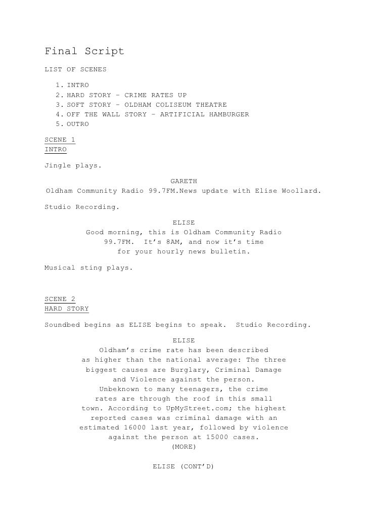 Final ScriptLIST OF SCENES  1. INTRO  2. HARD STORY – CRIME RATES UP  3. SOFT STORY – OLDHAM COLISEUM THEATRE  4. OFF THE ...