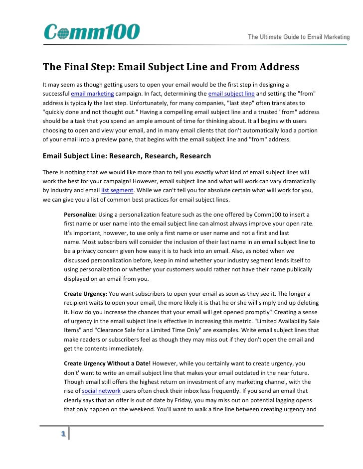 The final step email subject line and from address