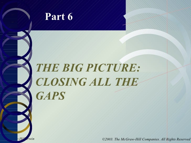 Part 6 THE BIG PICTURE: CLOSING ALL THE GAPS