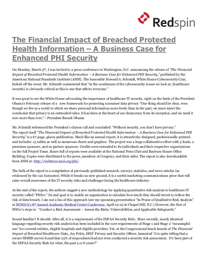 The Financial Impact of Breached ProtectedHealth Information – A Business Case forEnhanced PHI SecurityOn Monday, March 5t...