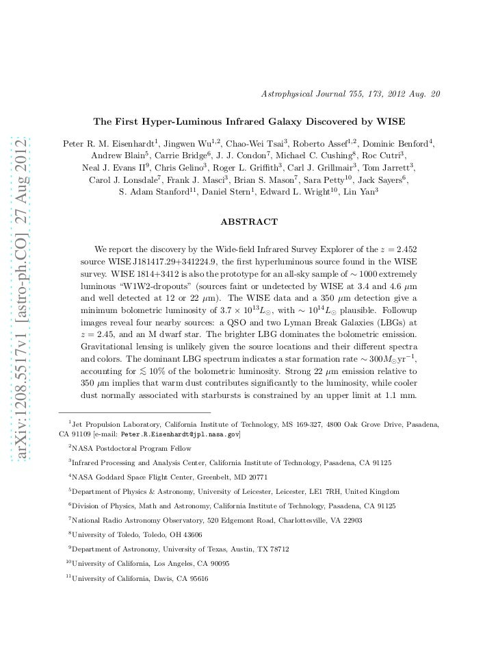 Astrophysical Journal 755, 173, 2012 Aug. 20                                                           The First Hyper-Lum...