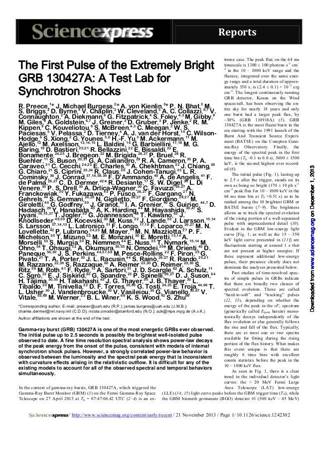 The first pulse_of_the_extremely_bright_grb_130427a_a_test_lab_for_synchrotron_shocks