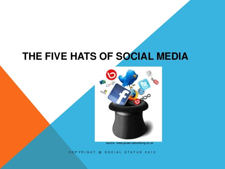 THE FIVE HATS OF SOCIAL MEDIA                                source: www.power-advertising.co.uk        C O P Y R I G H T ...