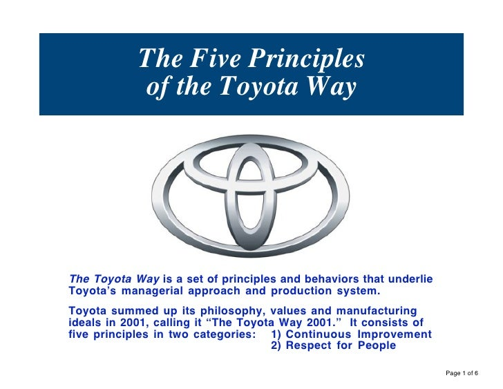 The Five Principles            of the Toyota WayThe Toyota Way is a set of principles and behaviors that underlieToyota's ...