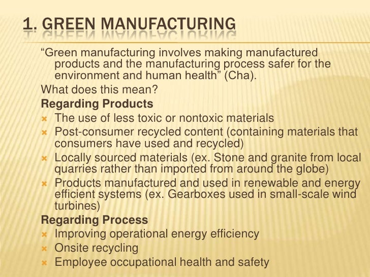 The five subsectors of green product development and manufacturing