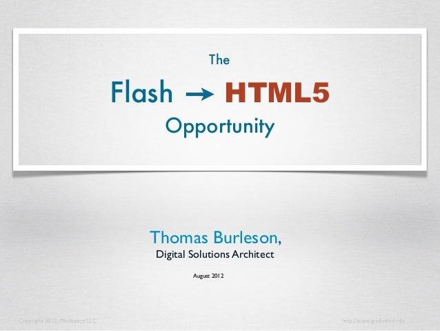 The Flash to HTML5 Opportunity