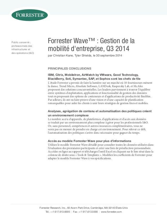 Forrester Wave™: Gestion de la mobilité d'entreprise, Q3 2014