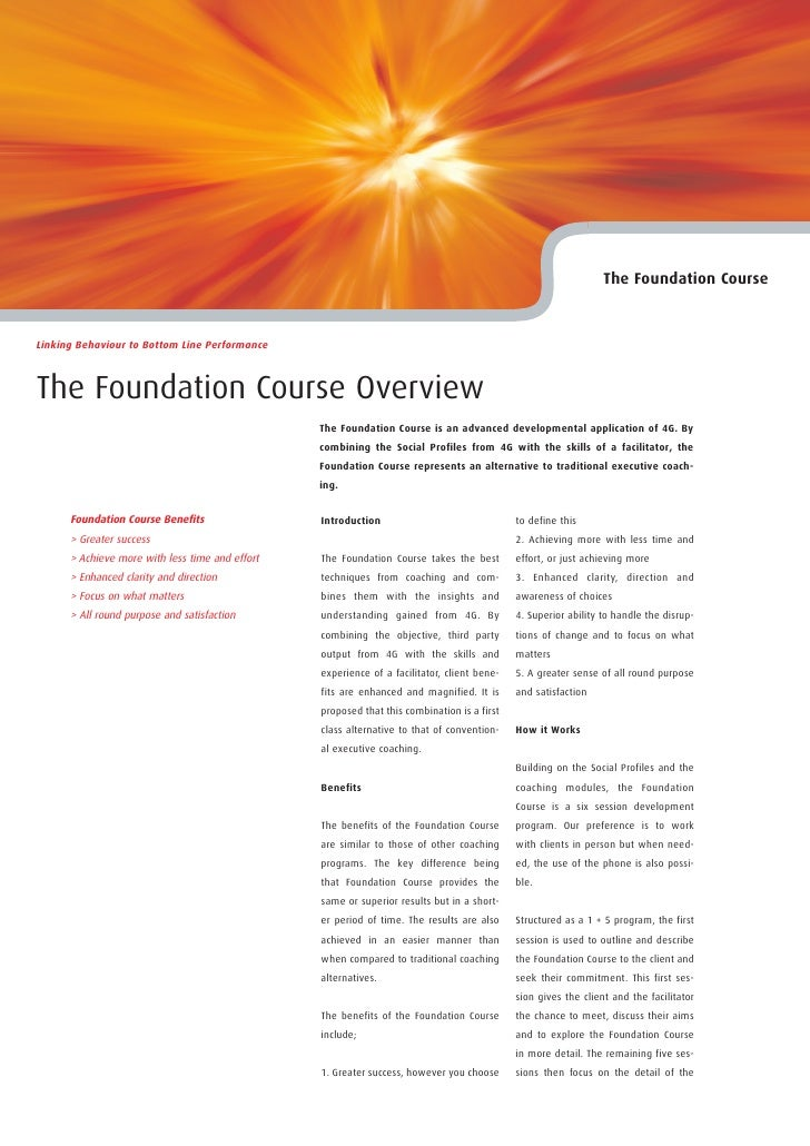 The Foundation Course   Linking Behaviour to Bottom Line Performance    The Foundation Course Overview                    ...