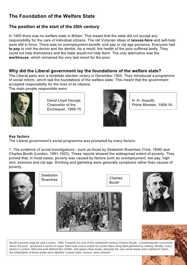 The Foundation of the Welfare State  The position at the start of the 20th century  In 1900 there was no welfare state in ...