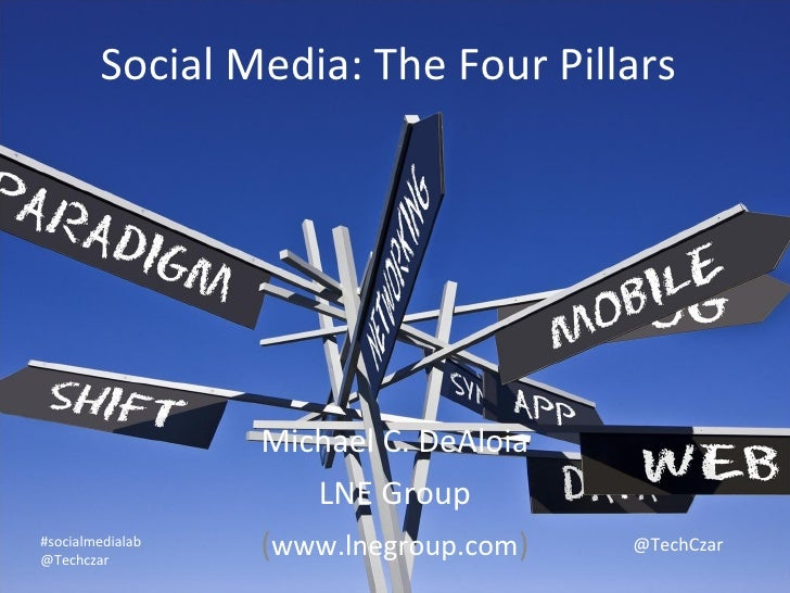 Social Media: The Four Pillars Michael C. DeAloia LNE Group ( www.lnegroup.com ) #socialmedialab @Techczar @TechCzar