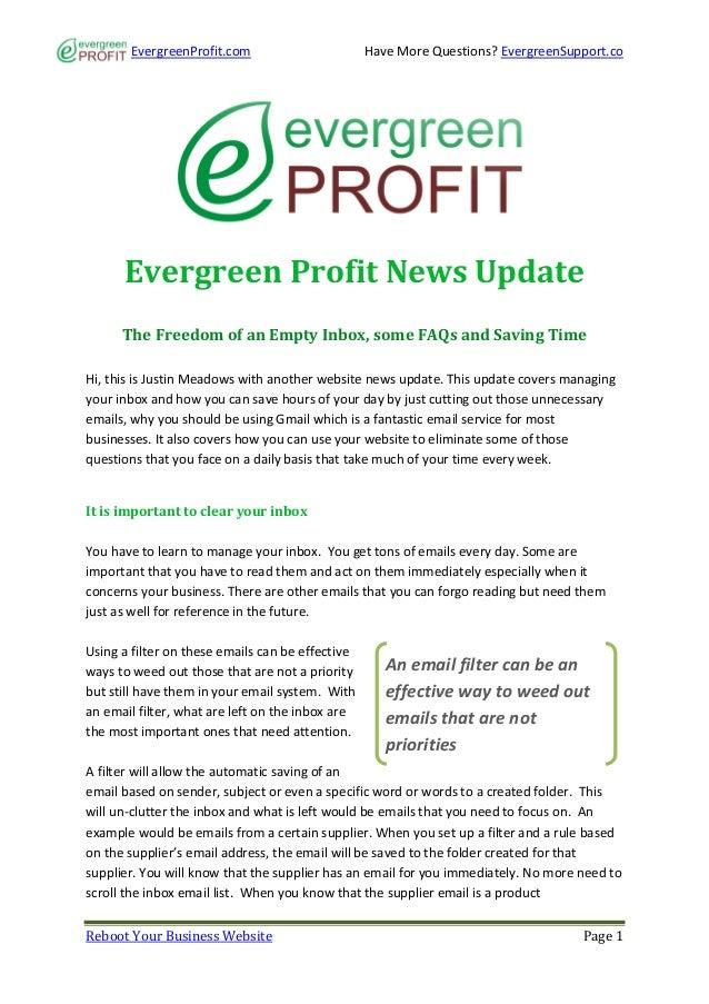 EvergreenProfit.com                        Have More Questions? EvergreenSupport.co      Evergreen Profit News Update     ...