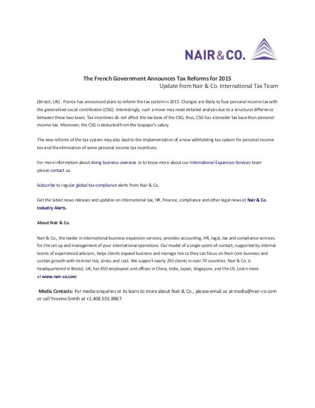 The French Government Announces Tax Reforms for 2015 Update from Nair & Co. International Tax Team (Bristol, UK) - France ...