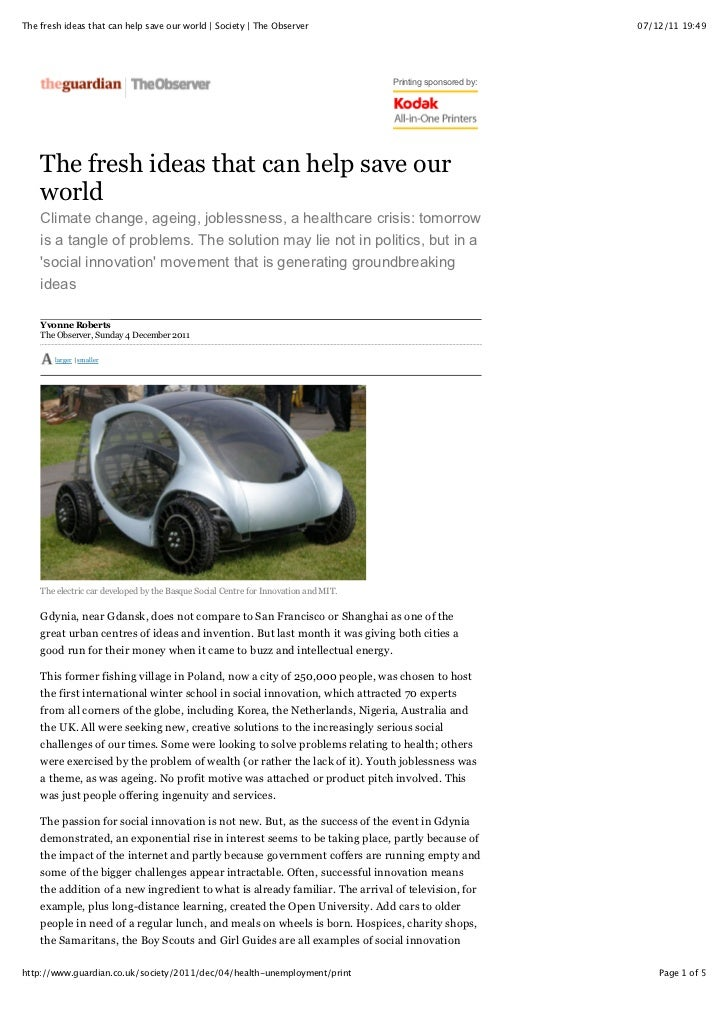 The fresh ideas that can help save our world | Society | The Observer                                         07/12/11 19:...