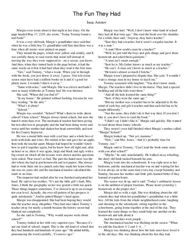 the fun they had Free ncert solutions for class 9 english, chapter 1 - the fun they had from ncert textbook (beehive ncert solutions.
