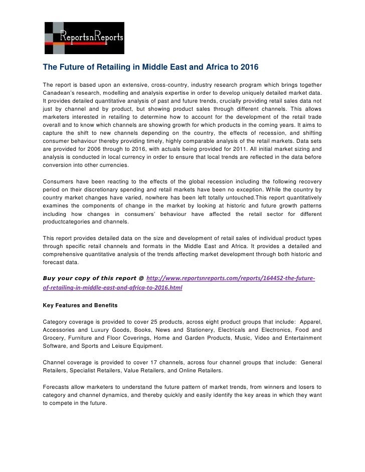 The future of retailing in middle east and africa to 2016