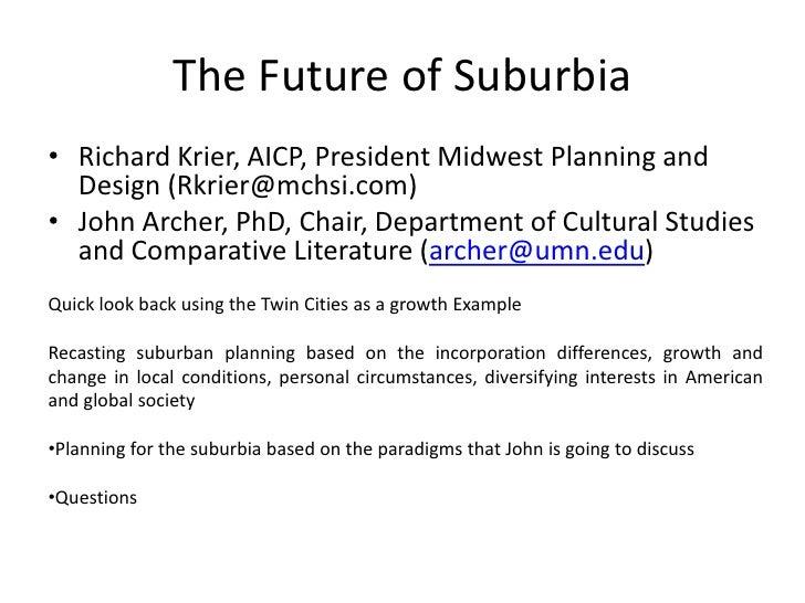 The future of suburbia
