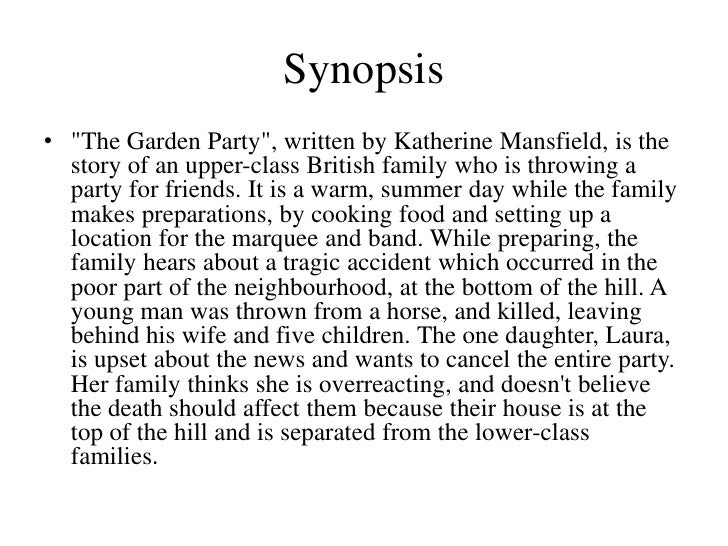 the garden party by katherine mansfield stylistic analysis Complete summary of katherine mansfield's the garden party: and other stories enotes plot summaries cover all the significant action of.
