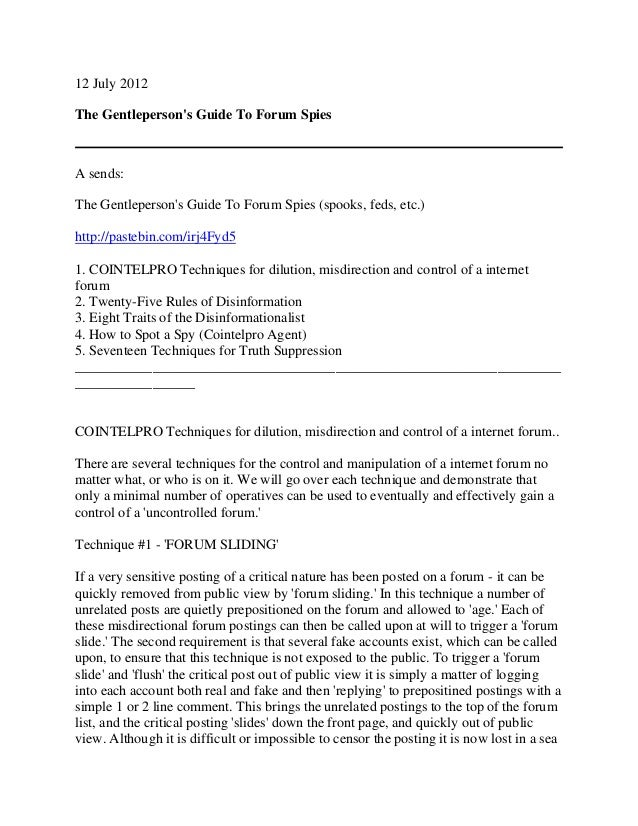 12 July 2012 The Gentleperson's Guide To Forum Spies A sends: The Gentleperson's Guide To Forum Spies (spooks, feds, etc.)...
