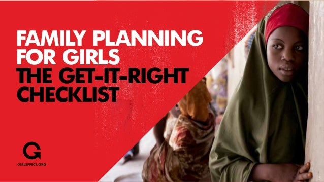FAMILY PLANNING FOR GIRLS THE GET-IT-RIGHT CHECKLIST
