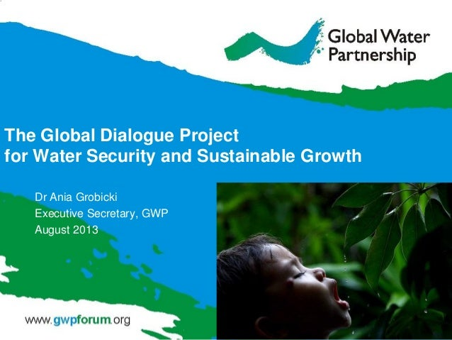 The Global Dialogue Project for Water Security and Sustainable Growth Dr Ania Grobicki Executive Secretary, GWP August 2013