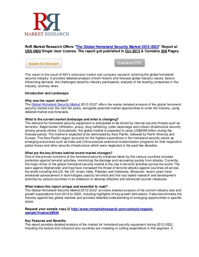 """RnR Market Research Offers """"The Global Homeland Security Market 2012-2022"""" Report atUS$ 4800 Single User License. The repo..."""