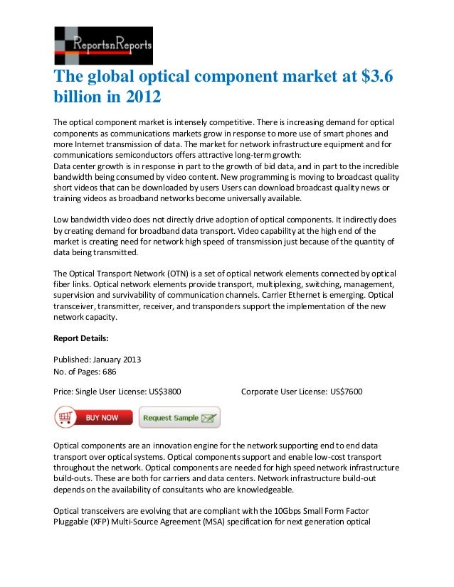 The global optical component market at $3.6billion in 2012The optical component market is intensely competitive. There is ...