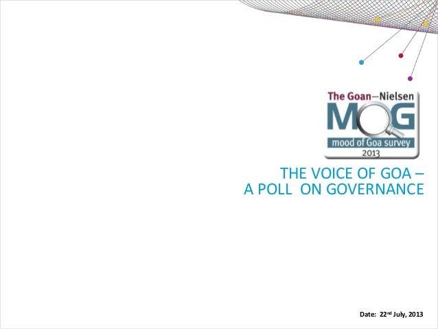 The Goan-Nielsen (MOG) Mood of Goa Survey 2013