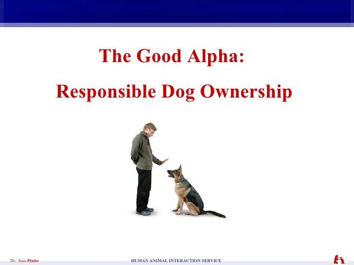 The Good Alpha:  Responsible Dog Ownership Dr.  Sara  Platto    HUMAN ANIMAL INTERACTION SERVICE