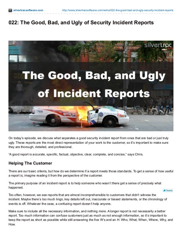how to write a good security incident report