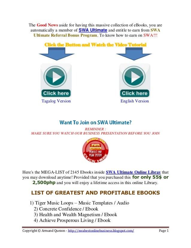 List of Profitable SWA Ebooks
