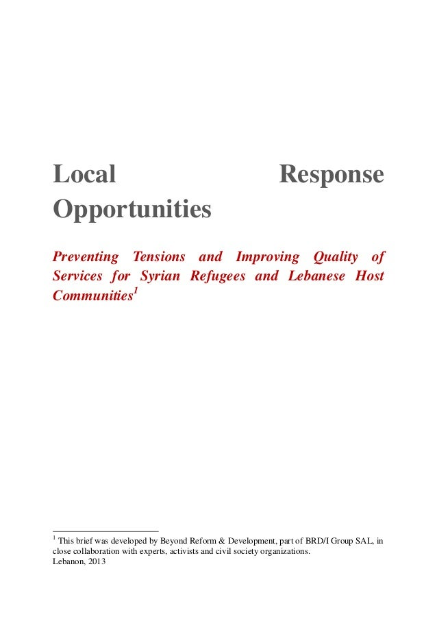 Local                                                     ResponseOpportunitiesPreventing Tensions and Improving Quality o...
