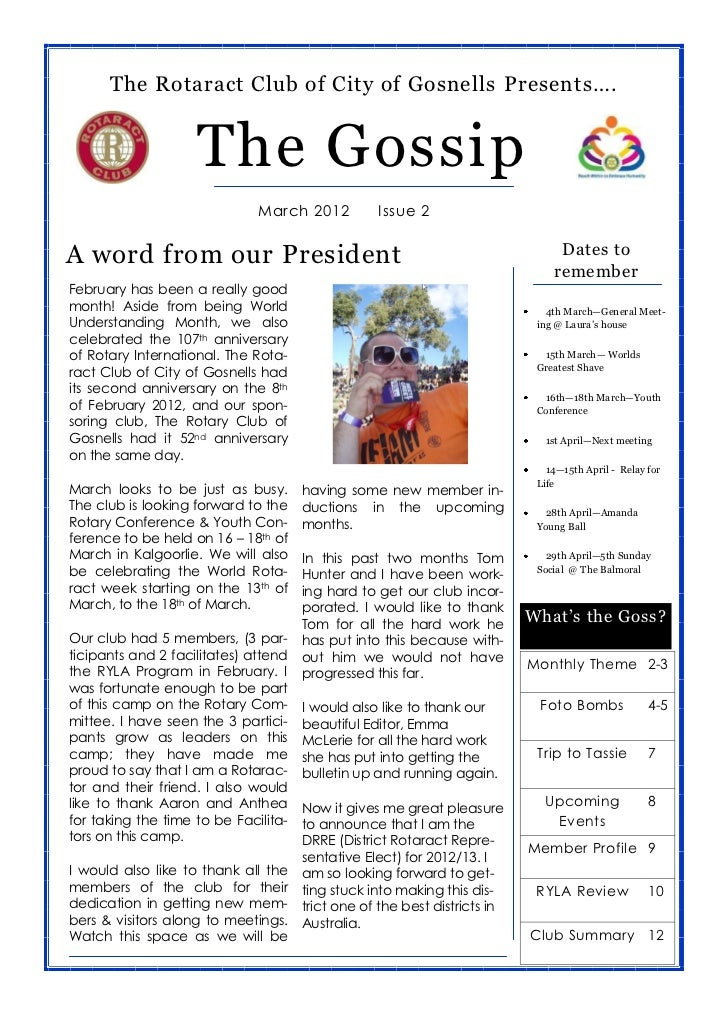 The Rotaract Club of City of Gosnells Presents….                    The Gossip                              March 2012    ...