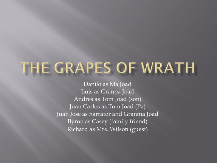 Danilo as Ma Joad Luis as Granpa Joad Andres as Tom Joad (son) Juan Carlos as Tom Joad (Pa) Juan Jose as narrator and Gran...