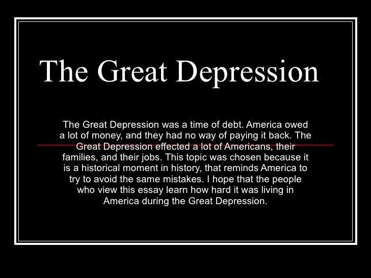 the great depression essays