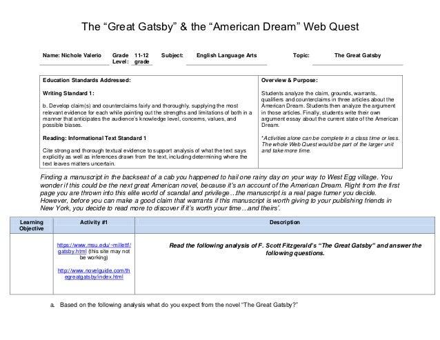 Great gatsby american dream essay