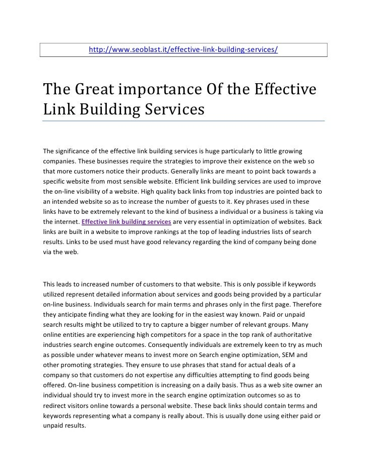 http://www.seoblast.it/effective-link-building-services/The Great importance Of the EffectiveLink Building ServicesThe sig...